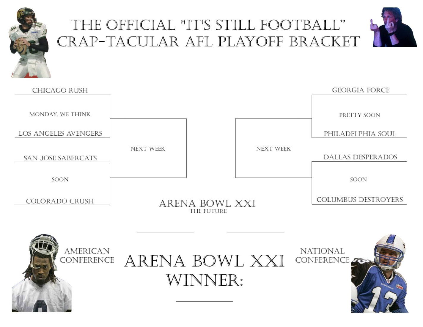 The Official ISF Arena Bowl XXI Bracket - it's Crap-Tacular!